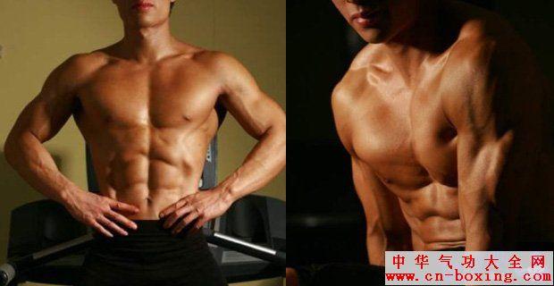 """的锻炼之外,其次最在意的就是腹肌了。厚实有型的胸肌,配上6块线条明朗的腹肌,是每个男人都梦寐以求的身材。今天我们就来和大家说说腹肌的锻炼。锻炼腹肌有很多种方法,其中最简单有效的方法就是徒手仰卧起坐,只需要在睡觉前做那么一会,坚持下来,就会有漂亮的腹肌了。并且适当吃点增肌粉长肌肉。这里推荐2种品牌的增肌粉:康比特(进入康比特专卖店)和 美瑞克斯(进入美瑞克斯官方旗舰店)。有需要可以直接上他们的淘宝店铺购买。  在大家的印象中,漂亮的腹肌就应该是""""搓衣板"""",其实不是这样,真正健美的腹部"""